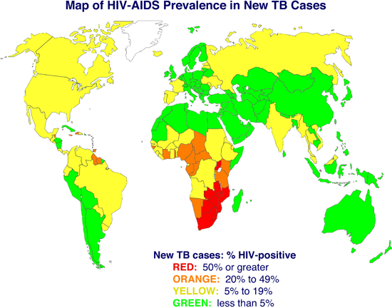 global map indicating the incidence of hiv aids in new tuberculosis patients per year for