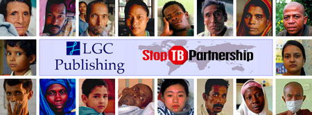 LGC Publishing and Stop TB Partnership logos surrounded by the faces of TB victims with link to TB: Snapshot of an Epidemic page